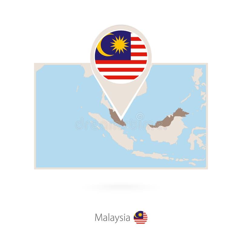 马来西亚的长方形地图有马来西亚的别针象的 向量例证