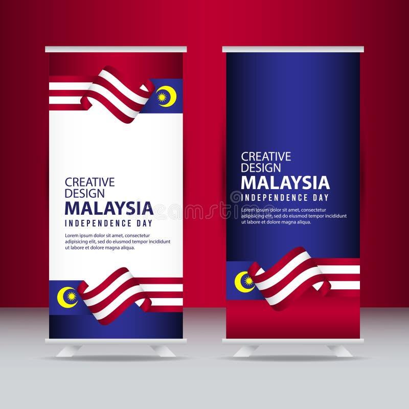 马来西亚美国独立日庆祝创造性的设计例证传染媒介模板 库存例证