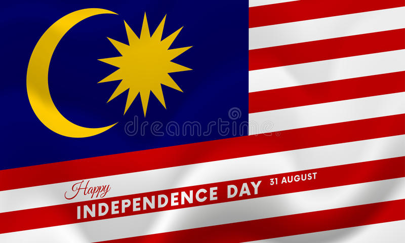 马来西亚美国独立日 31威严的挥动的旗子 向量 皇族释放例证