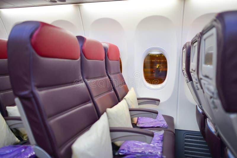 马来西亚航空公司波音737内部 免版税图库摄影
