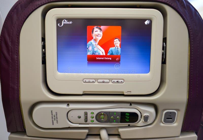 马来西亚航空公司波音737内部 图库摄影