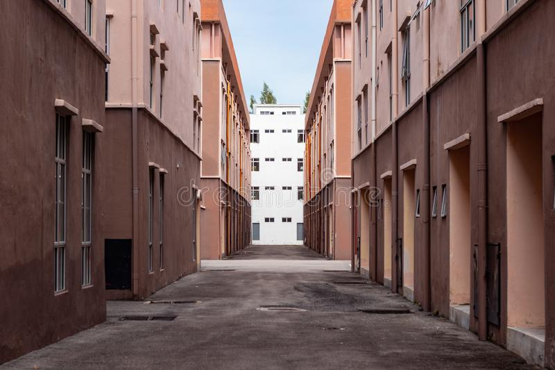 马来西亚马六甲市梅拉卡四分之一的住宅对称 免版税库存照片
