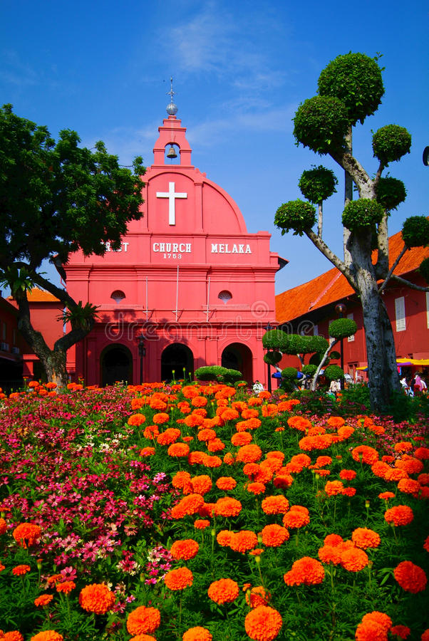 马来西亚 马六甲-基督教会&荷兰正方形看法在7 图库摄影