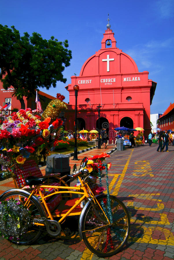 马来西亚 马六甲-基督教会&荷兰正方形看法在7 库存图片