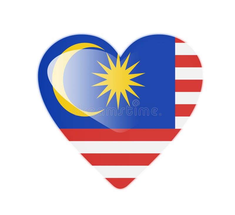 马来西亚3D心形的旗子 皇族释放例证