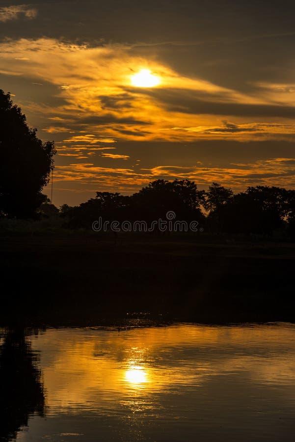 马格达莱纳河日出垂直 库存图片