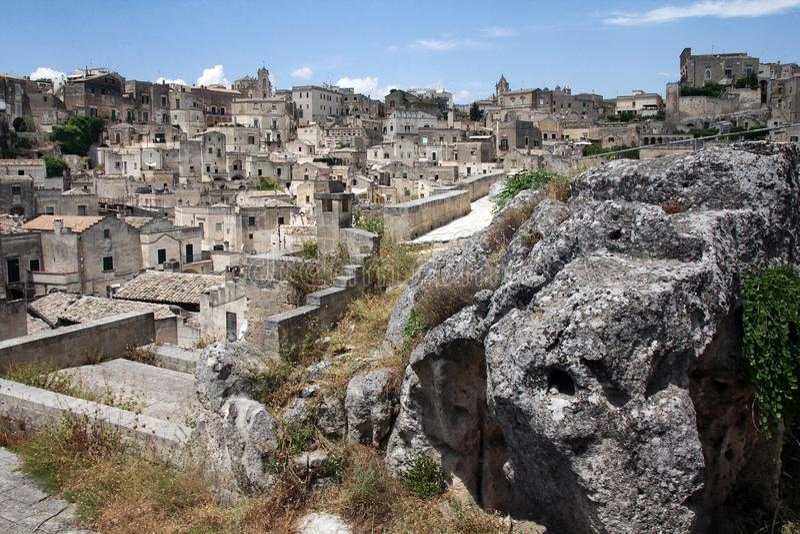 马泰拉的历史的中心,在联合国科教文组织世界遗产名录名单包括 库存照片