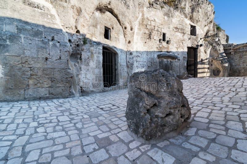 马泰拉,i Sassi,意大利老镇  免版税库存图片