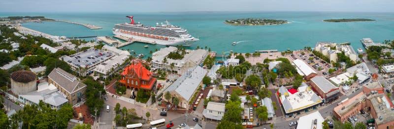 马洛里广场基韦斯特岛FL的空中图象 库存照片