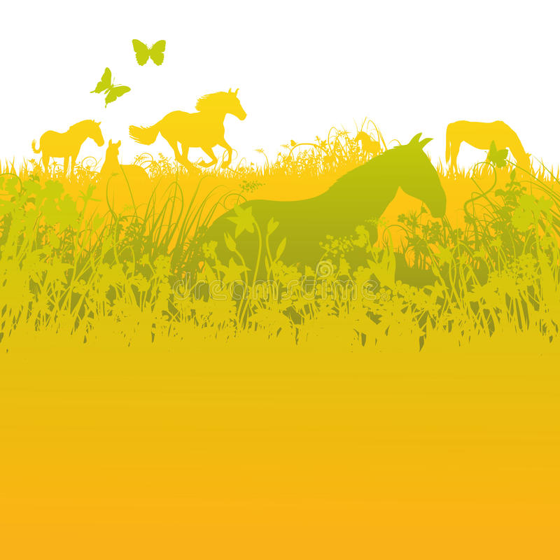 马牧群在绿色牧场地的 皇族释放例证