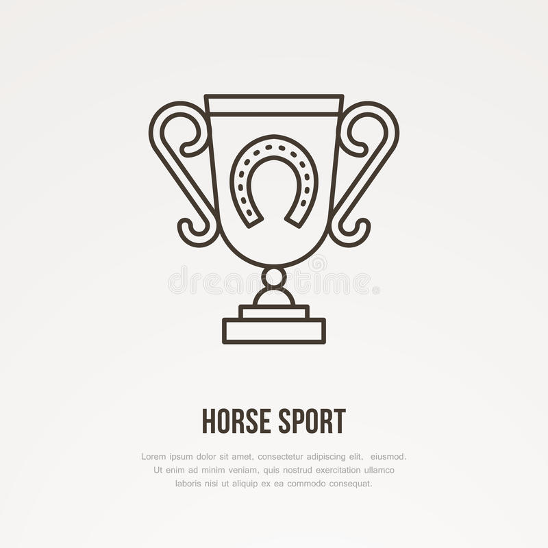 马球冠军战利品线性象 有马掌商标的,跑马冠军标志奖杯 优胜者奖 库存例证
