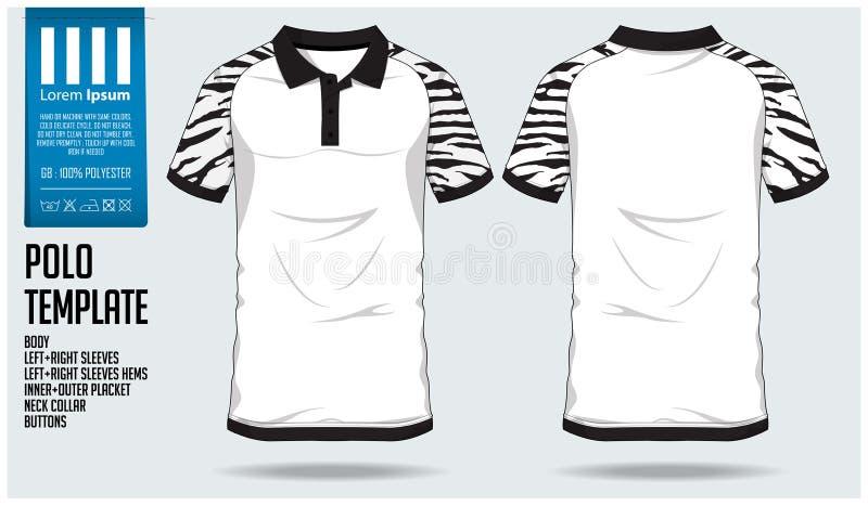 马球T恤杉体育足球球衣、橄榄球成套工具或者体育俱乐部的设计模板 炫耀在正面图和后面看法的制服 库存例证