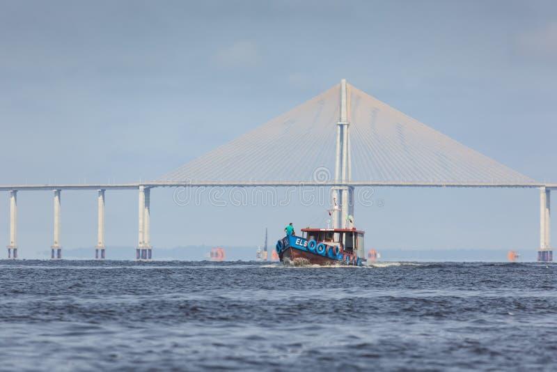 马瑙斯,巴西, 10月17日:马瑙斯Iranduba桥梁 免版税图库摄影