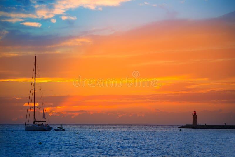 马略卡口岸de安德拉特斯日落在马略卡 免版税库存图片