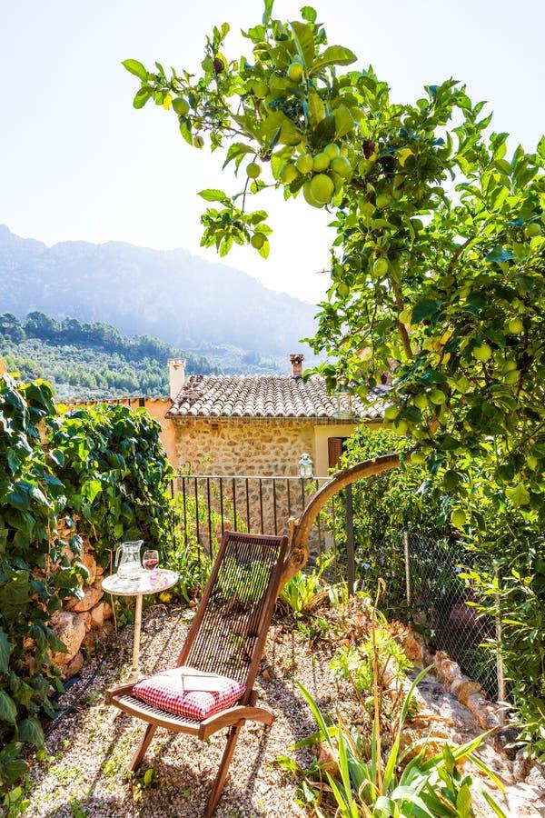 马略卡拜雷阿尔斯房子露台在巴利阿里群岛 免版税图库摄影