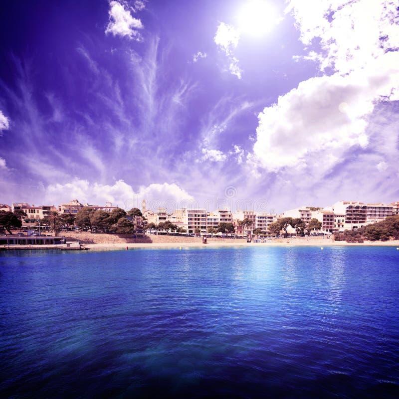 马略卡波尔图克里斯多海滩在马略卡的马纳科尔 图库摄影