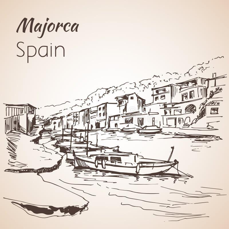 马略卡海岛剪影 草图 皇族释放例证