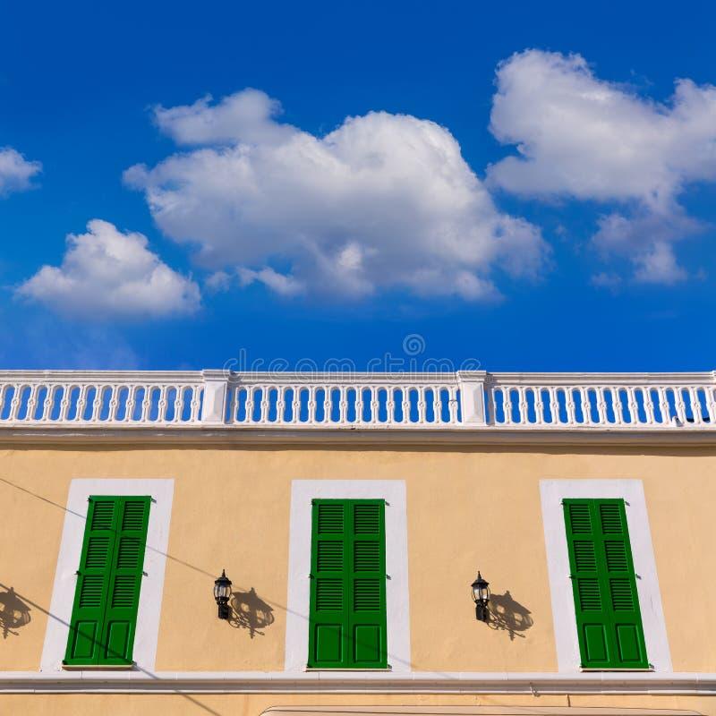 马略卡科洛尼亚省Sant霍尔迪拜雷阿尔斯门面 免版税库存图片