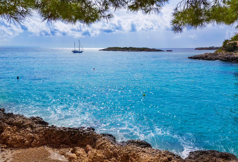 马略卡Playa de Illetas海滩马略卡Calvia 库存图片