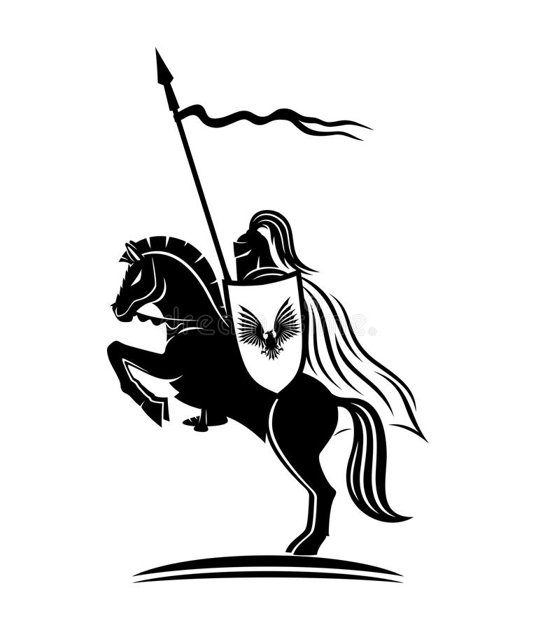 马的一个骑士 库存例证