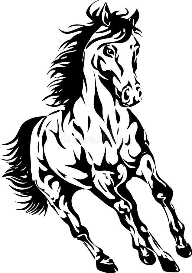 马的剪影 库存例证