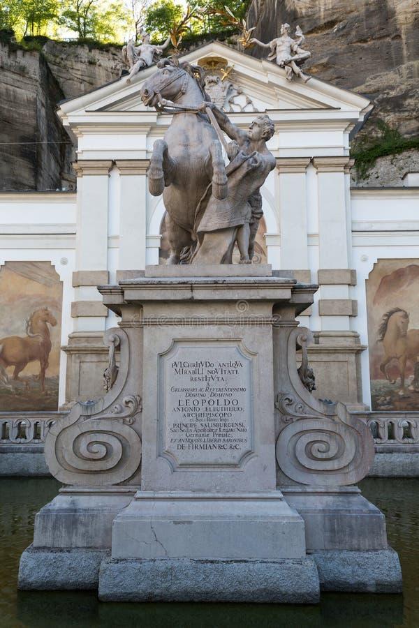 马的浴在萨尔茨堡 免版税库存图片