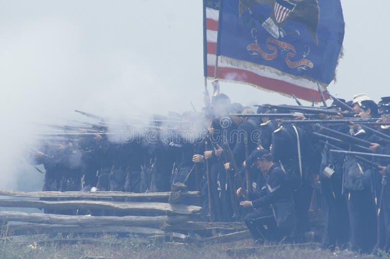 马纳萨斯争斗的历史再制定,指示南北战争的起点,弗吉尼亚 免版税库存图片