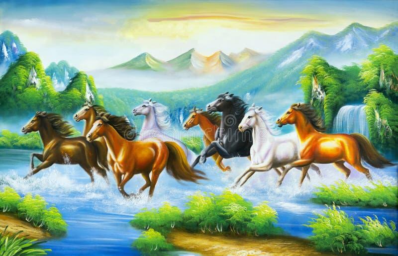 马绘画,根据东方文化, 向量例证