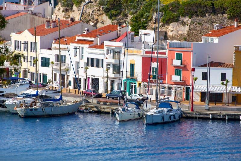马翁毛港在巴利阿里群岛的Menorca 免版税库存照片