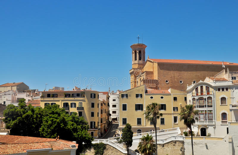 马翁老镇,梅诺卡岛,西班牙 免版税库存照片