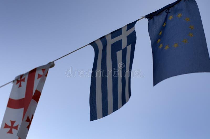 马耳他、希腊和欧盟旗子  免版税库存照片