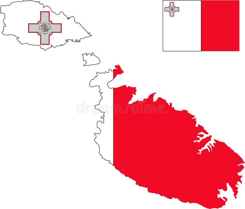 马耳他传染媒介地图有旗子的 被隔绝的,白色背景 向量例证