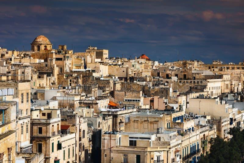 马耳他全景瓦莱塔 免版税库存照片