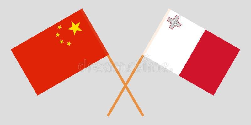 马耳他和中国 马尔他和中国旗子 E r ?? 皇族释放例证