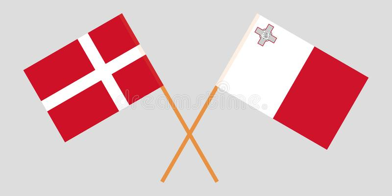 马耳他和丹麦 马尔他和丹麦旗子 E r ?? 皇族释放例证