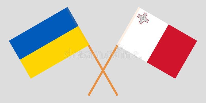 马耳他和乌克兰 马尔他和乌克兰旗子 E r ?? 向量例证