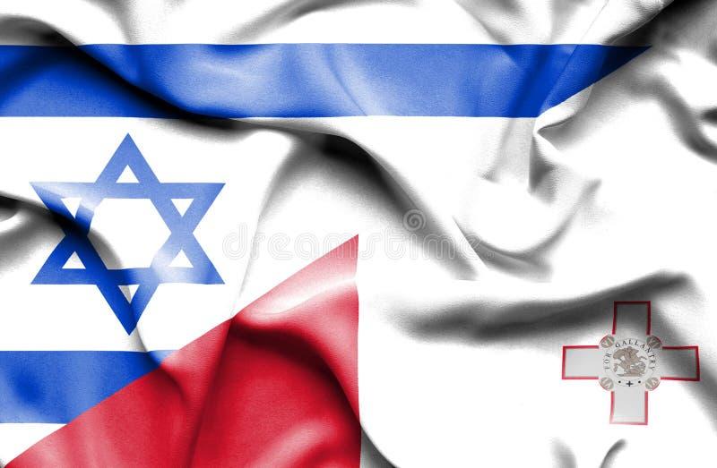 马耳他和以色列的挥动的旗子 皇族释放例证
