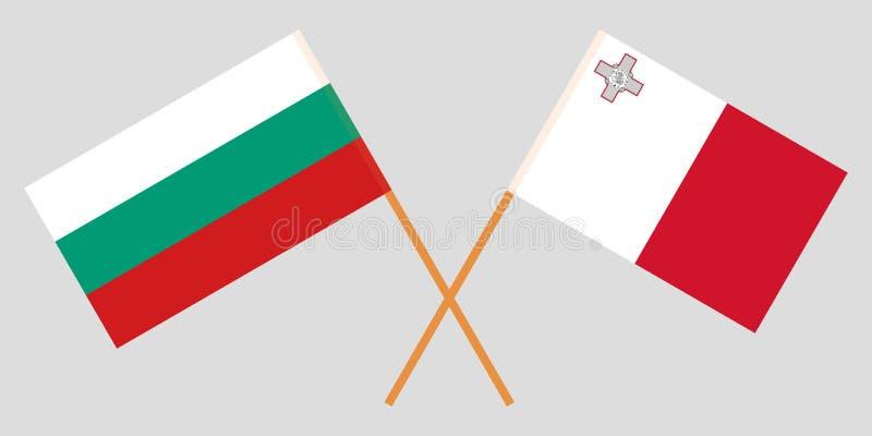 马耳他和保加利亚 马尔他和保加利亚旗子 E r ?? 向量例证