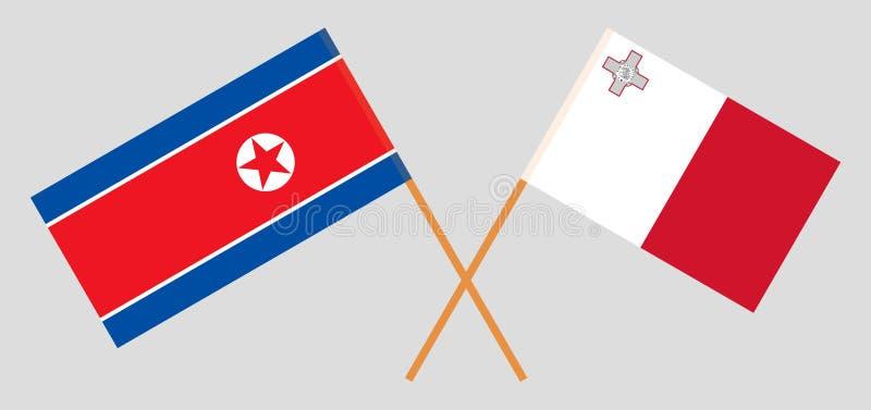 马耳他和北朝鲜 马尔他和韩国旗子 E r ?? 向量例证
