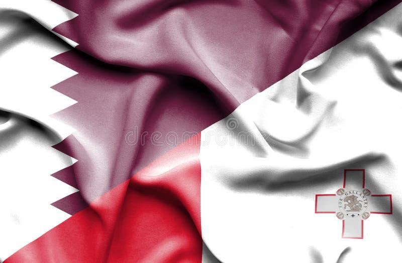 马耳他和卡塔尔的挥动的旗子 向量例证