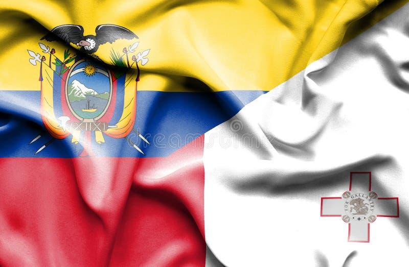 马耳他和厄瓜多尔的挥动的旗子 向量例证