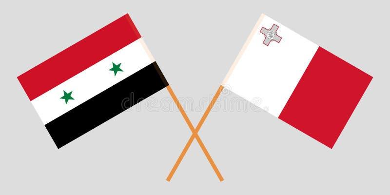 马耳他和叙利亚 马尔他和叙利亚旗子 E r ?? 库存例证
