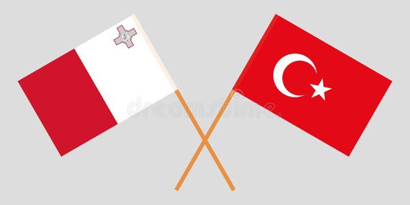 马耳他和土耳其 马尔他和土耳其旗子 E r ?? 皇族释放例证