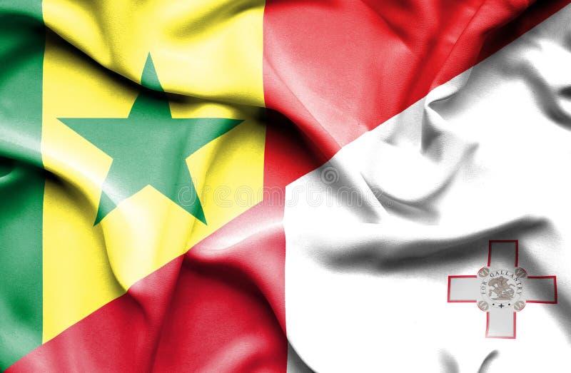 马耳他和塞内加尔的挥动的旗子 库存例证