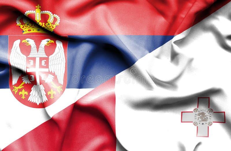 马耳他和塞尔维亚的挥动的旗子 皇族释放例证