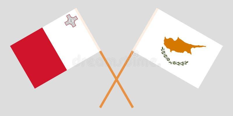 马耳他和塞浦路斯 马尔他和居普良旗子 E r ?? 库存例证