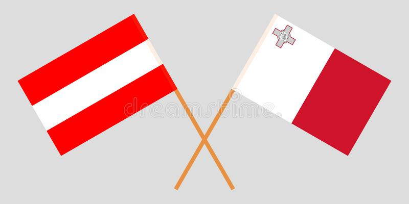 马耳他和奥地利 马尔他和奥地利旗子 E r ?? 库存例证