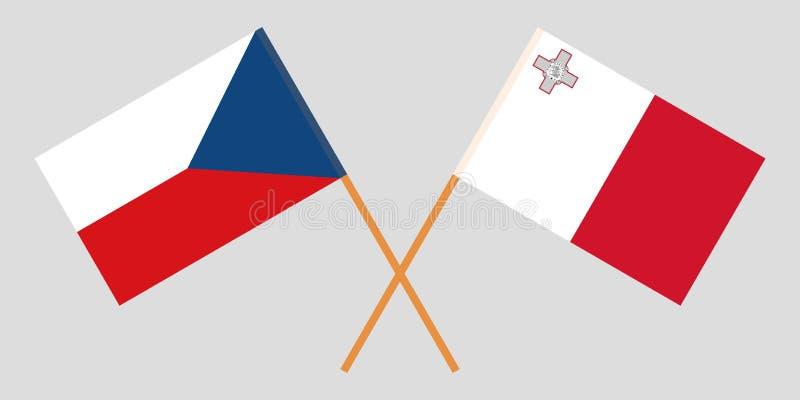 马耳他和捷克 马尔他和捷克旗子 E r ?? 库存例证