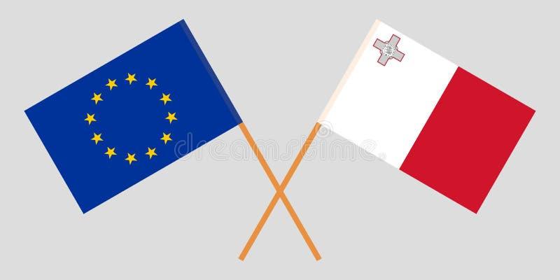马耳他和欧盟 马尔他和欧洲旗子 E r r 皇族释放例证