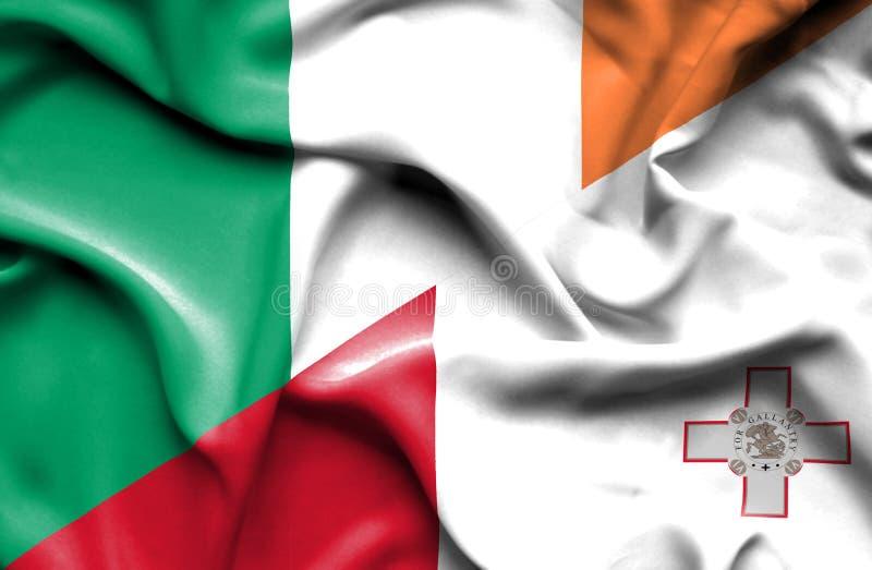 马耳他和爱尔兰的挥动的旗子 皇族释放例证